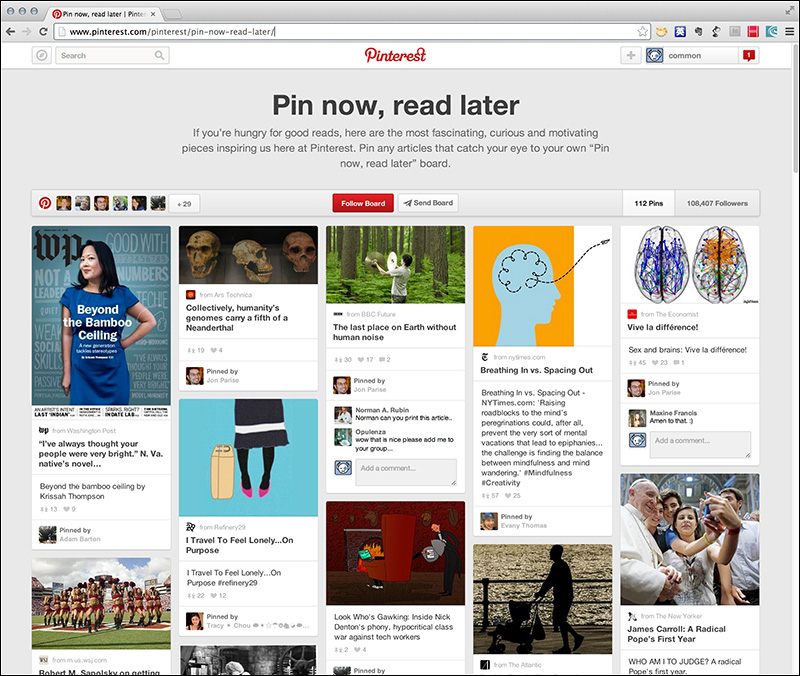Pinterestのページ