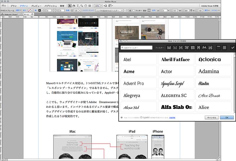 Museのウェブフォント機能のスクリーンショット