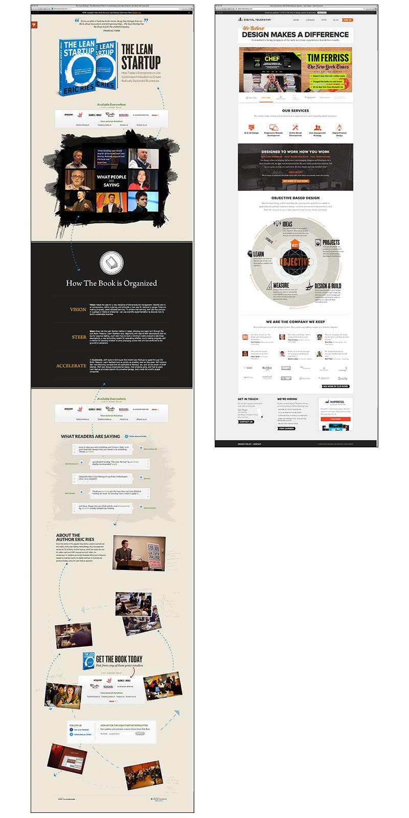「リーン・スタートアップ(The Lean Startup)」のランディングページと、制作を担当したデザインエージェンシー「Digital Telepathy」のサイト