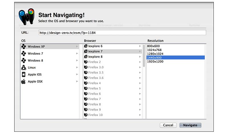 Sauce Labsの検証画面(OSバージョンとブラウザーのバージョン選択)