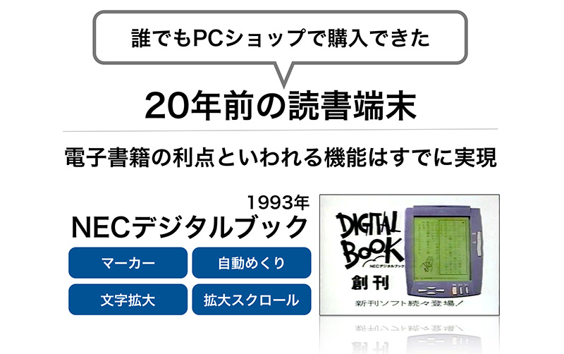 1993年に発売されたNECデジタルブックは、電子書籍の利点といわれる機能をすでに実現していた