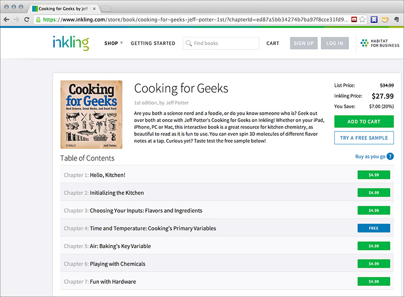 Inklingでアンバンドル販売されている「Cooking for Geeks」